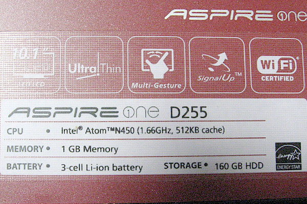 ACER-ASPIRE-ONE-D255-仕様