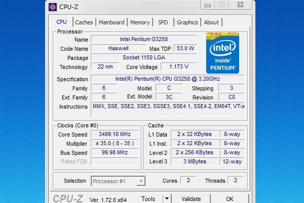 3500Hzで動作するG3258をCPU-Zで確認