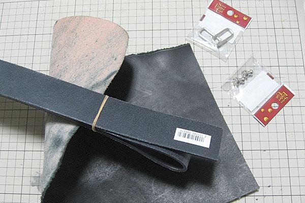 床面とコバが処理してあるベルト35mm幅-金具-栃木レザーのハギレ-ギボシ止めハードレザーベルト-レザークラフト