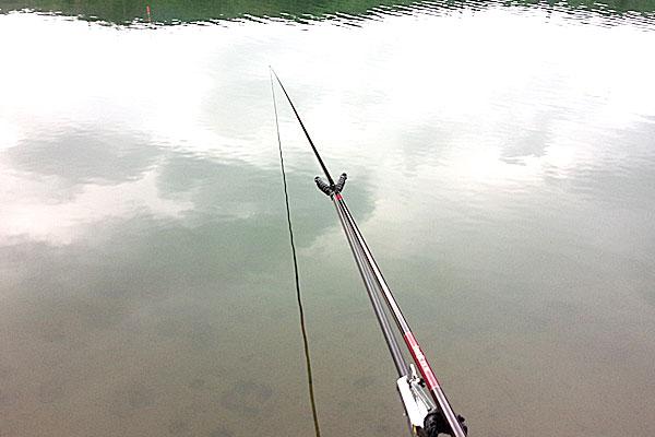 2-うかれ鯉-硬調390-13尺-銀水釣竿製作所-ヘラウキと延べ竿で鯉釣り-新潟県見附市-大平森林公園