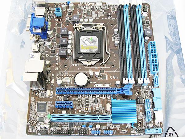 マザーボードにCPUとメモリを取り付け-ASUS-B75M-PLUS