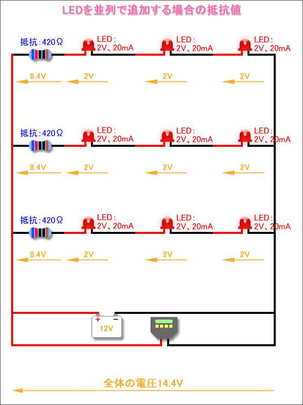 並列でLEDを追加する場合