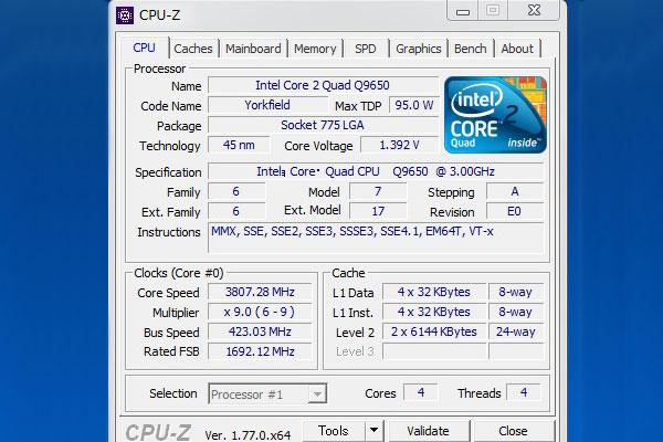 ASUS-P5Q-intel-core2-Quad-Q9650-オーバークロック-3800MHz-高負荷-CPU-Z