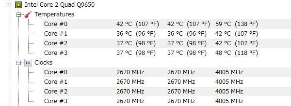 ASUS-P5Q-intel-core2-Quad-Q9650-オーバークロック-4000MHz-アイドル-CPU温度