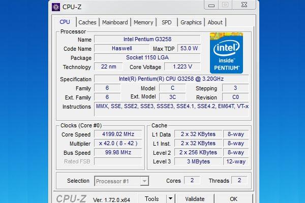 4200Hzで動作するG3258をCPU-Zで確認