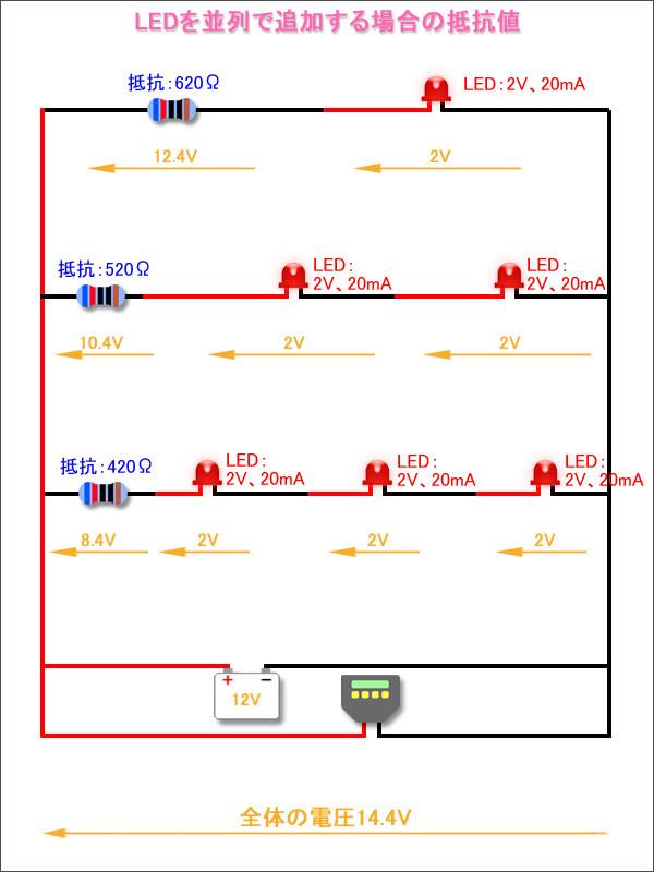 並列でLEDを追加する場合-別パターン