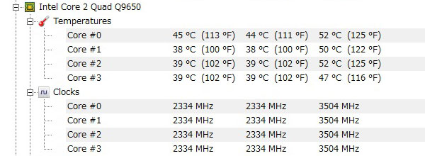 ASUS-P5Q-intel-core2-Quad-Q9650-オーバークロック-3500MHz-アイドル-CPU温度