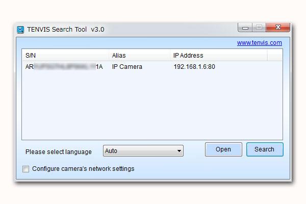 7-テンビス-TENVIS-IP-ネットワークカメラ-JPT3815W-HD-LANケーブルと電源ケーブルを接続した状態でSesrchしてみるとカメラを認識2