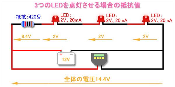 3つのLEDを点灯させる場合の抵抗値