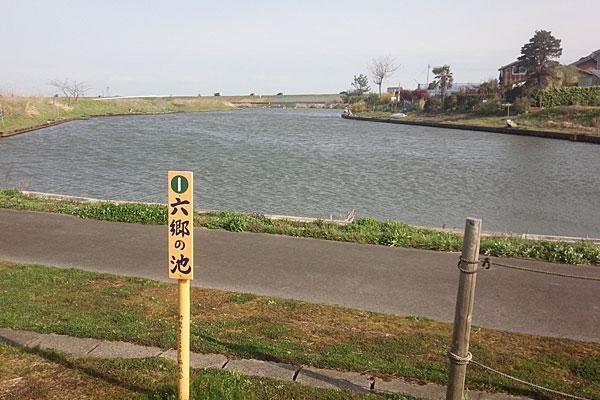2-池の南側からの景色-いつもは両岸に釣り人がいるのだが