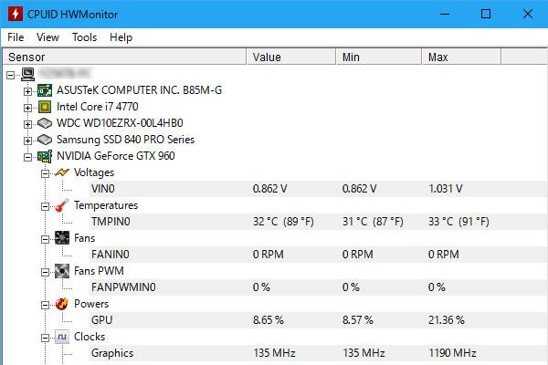PCケース交換完了-株式会社マイルストーン-ミニタワーMG100-msi-GeForce-GTX960-GAMING-2G-CPUID-HWMonitor