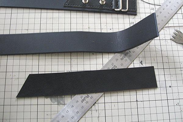 先端部分は革を重ねて重厚に-ギボシ止めハードレザーベルト-レザークラフト