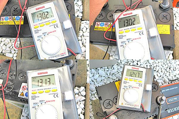 各バッテリーの電圧を計測してみる