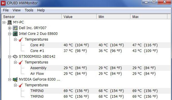 13-inspiron630-core2-Duo-E8600-CPU交換後-HWMonitorでCPUの温度を測ってみる