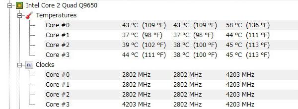 ASUS-P5Q-intel-core2-Quad-Q9650-オーバークロック-4200MHz-アイドル-CPU温度