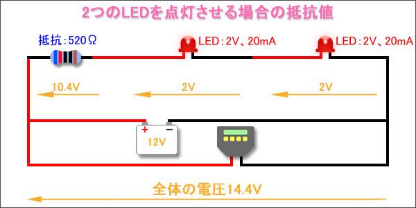 2つのLEDを点灯させる場合の抵抗値