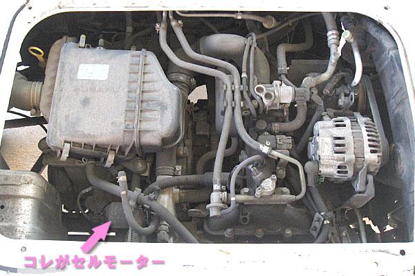6-スバル-サンバーバン-セルモーター交換-荷室-エンジンカバーを外して機関が露に