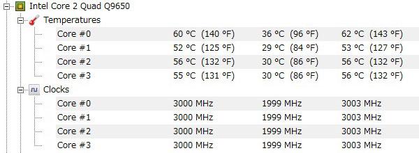ASUS-P5Q-intel-core2-Quad-Q9650-オーバークロック-3000MHz-高負荷-CPU温度