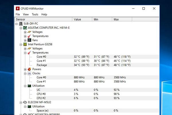 4-windows10-intel-pentium-g3258-ASUS-H81M-E-Z以外のチップセット-の組み合わせでオーバークロック-クロック倍率を35倍で3500MHz-HWMonotorで確認