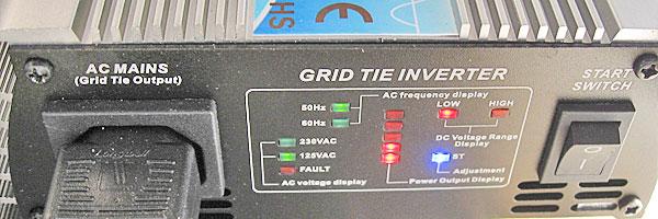 120Wほど給電している状態のグリッドタイインバーター