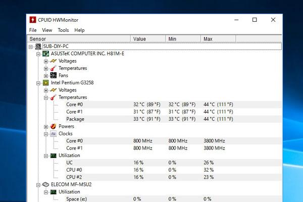 6-windows10-intel-pentium-g3258-ASUS-H81M-E-Z以外のチップセット-の組み合わせでオーバークロック-クロック倍率を38倍で3800MHz-HWMonotorで確認