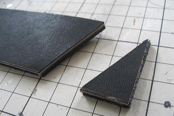 バックル部分のパーツと同じ角度で先端をカット-ギボシ止めハードレザーベルト-レザークラフト