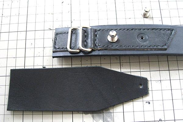 バックル部分の当て革-ギボシ止めハードレザーベルト-レザークラフト