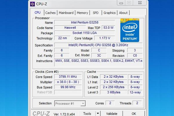 3800Hzで動作するG3258をCPU-Zで確認
