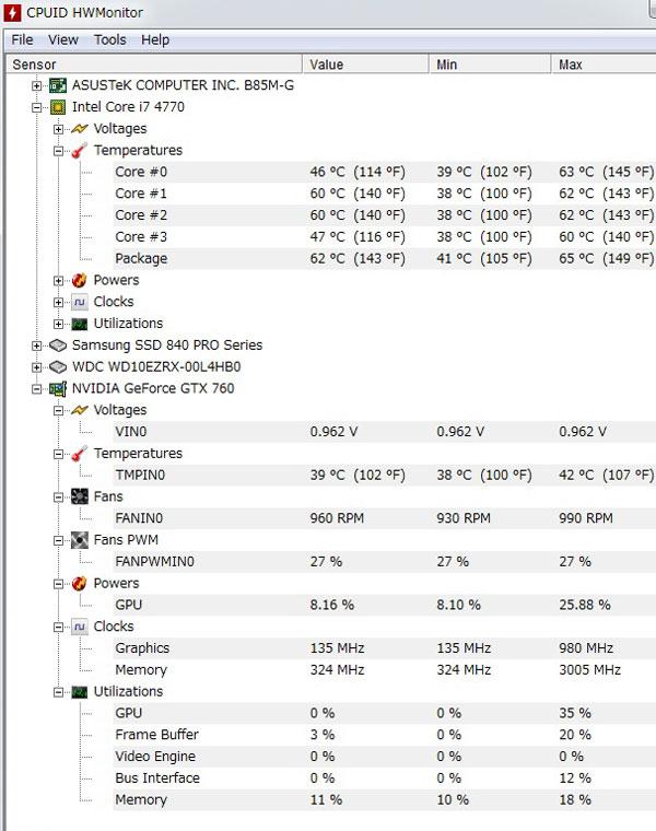 CPUID-HWMonitorでCPUの温度を見てみる