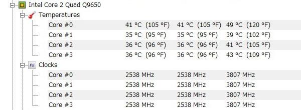 ASUS-P5Q-intel-core2-Quad-Q9650-オーバークロック-3800MHz-アイドル-CPU温度