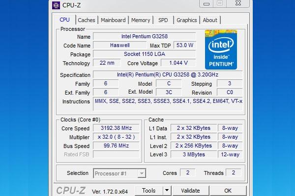 定格(3200Hz)でのCPU-ZでG3258を確認