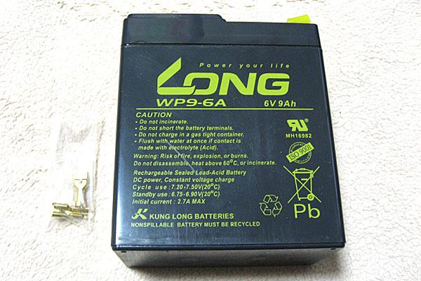 LONG-ディープサイクルバッテリー-WP9-6A-密閉型-6V-9Ah-20HR