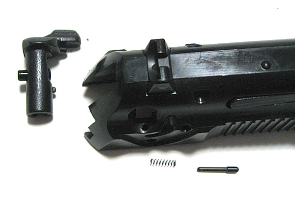 セフティレバーの組み込み-9mmM9-ドルフィン-Dolphin-セミ-フル-セレクティブ-マシンピストル-マルシン-モデルガン組立キット