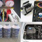 サンバー-コンプレッサー交換-マニホールドゲージ-冷媒-エアコンガス-HFC-134a-エアコンオイル